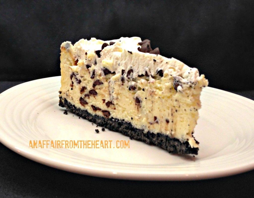 chocolate chip cheesecake slice