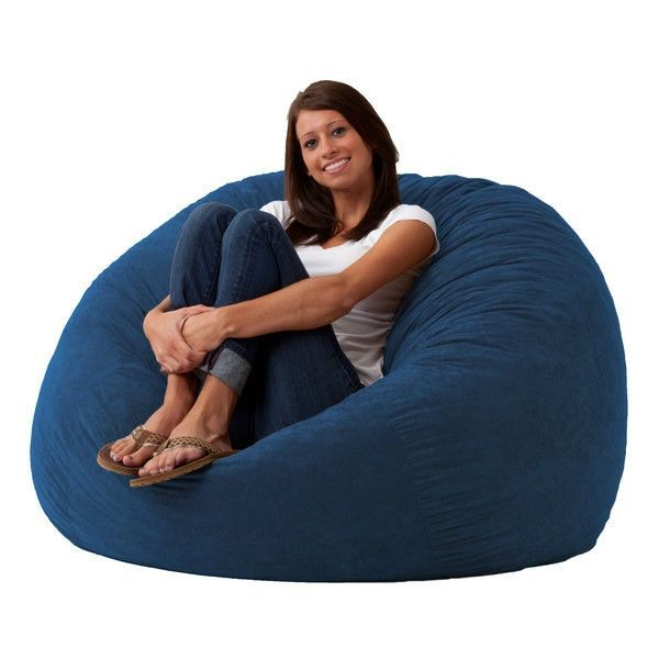 Large 4 Ft Memory Foam Bean Bag Chair In Sky Blue Suede   Made In