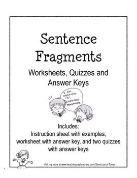 Sentence Fragments - Worksheets, Quizzes and Answer Keys | Quizzes ...