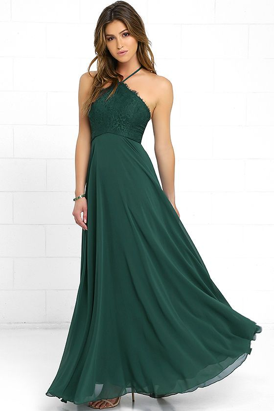 5003f3ab1bab Everlasting Enchantment Dark Green Maxi Dress Abiti Da Damigella D onore  Spiaggia