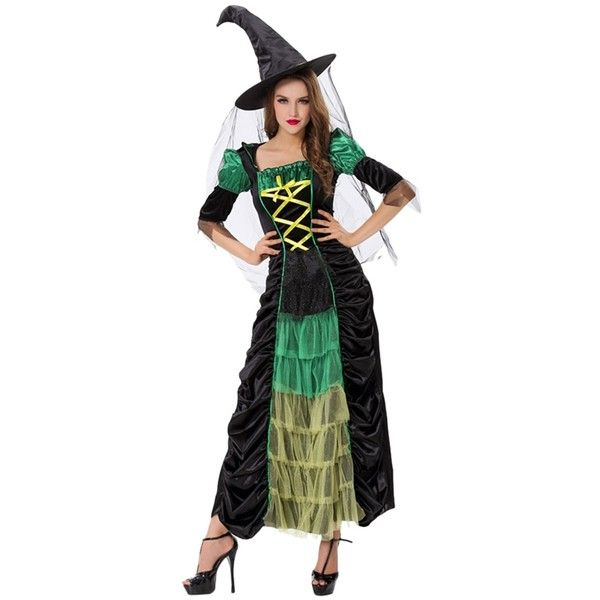 Womens Color Block Pleated Halloween Witch Costume Green ($39) ? liked on Polyvore featuring costumes green lady halloween costumes green costume ...  sc 1 st  Pinterest & Womens Color Block Pleated Halloween Witch Costume Green ($39 ...