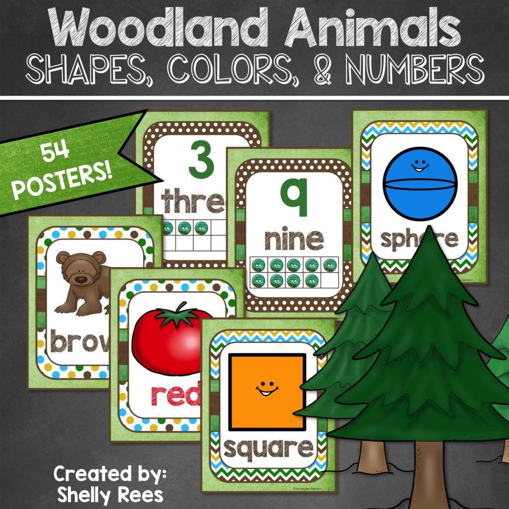 Woodland Animals Shapes Numbers And Colors Posters