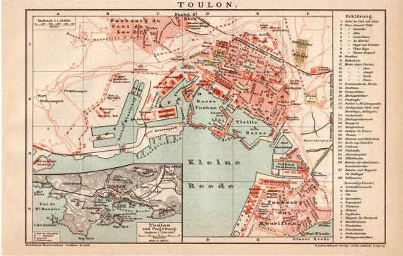 1895 Toulon France Antique Map Vintage Lithograph Mediterranean