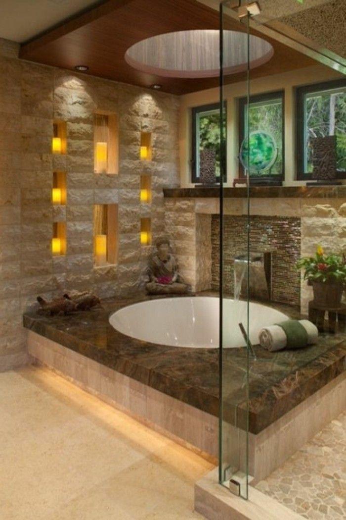 badezimmer deko badgestalteung in hellbraun badewanne blumen