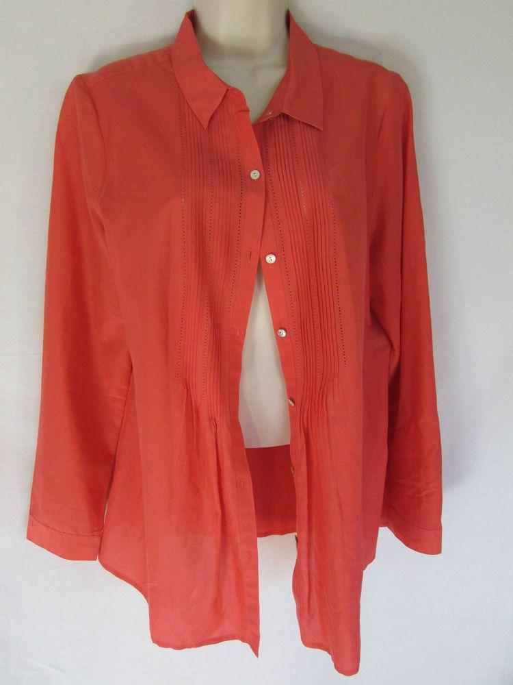 J Jill Blouse M Coral Flowing Cotton Silk Blend Pin Tuck Long Sleeve
