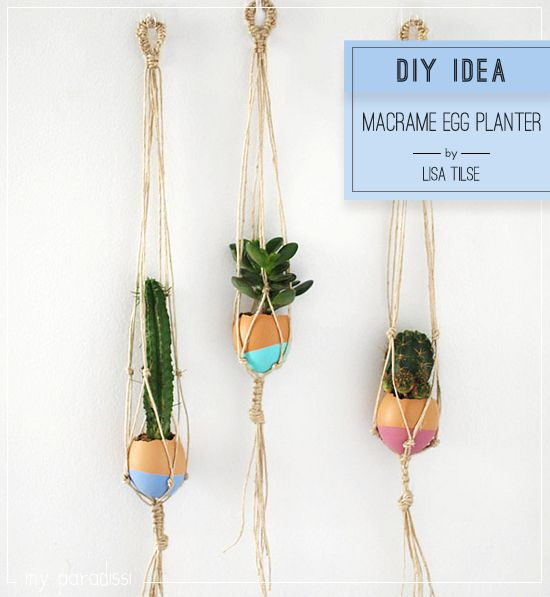 diy macrame egg planter