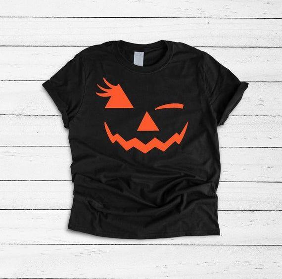 Funny Halloween Shirt Winking Face Wink Face Pumpkin