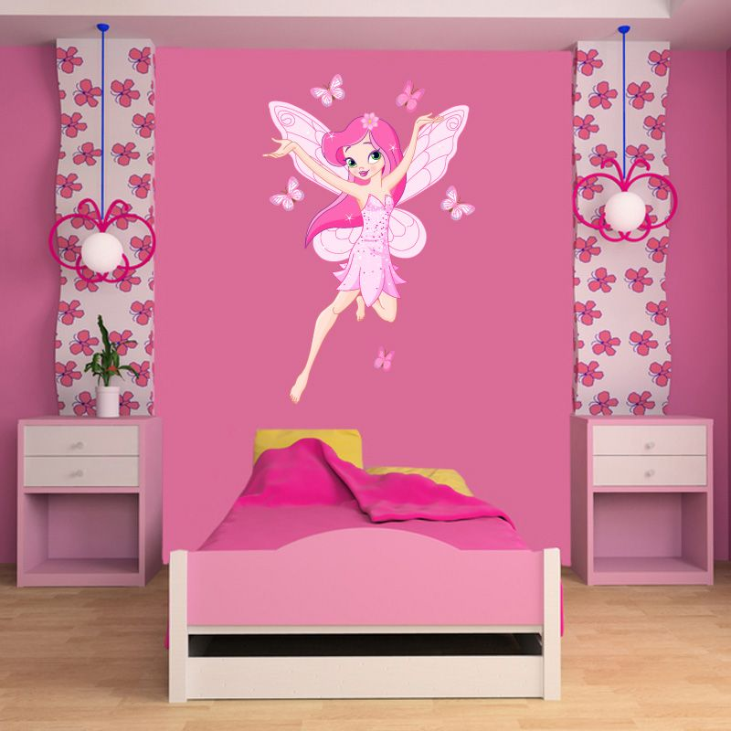 Flying Fairy Wall Stickers For Room In Pink Shades