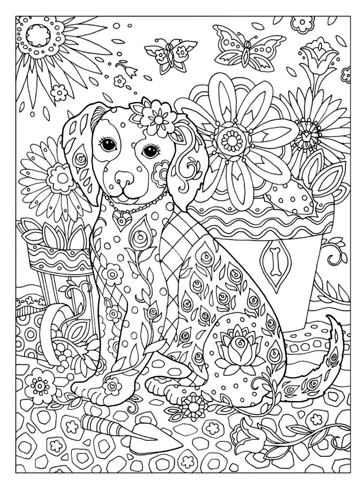 free printable dog coloring pages for adults | Marjorie Sarnat - Dazzling Dogs | Puppy coloring pages ...