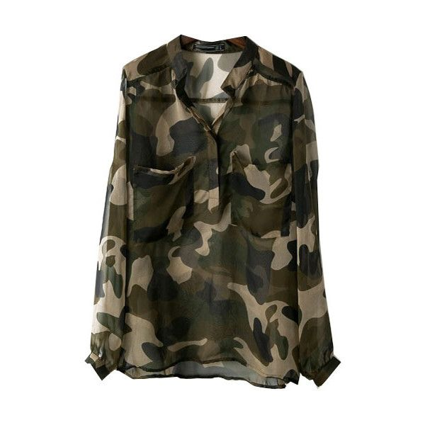 ccf0f0dcdaf98 Sexy See-through Chiffon Blouse in Camouflage Color (35 AUD) ❤ liked on  Polyvore featuring tops, blouses, chicnova, camisas, sheer blouse, sheer  chiffon ...