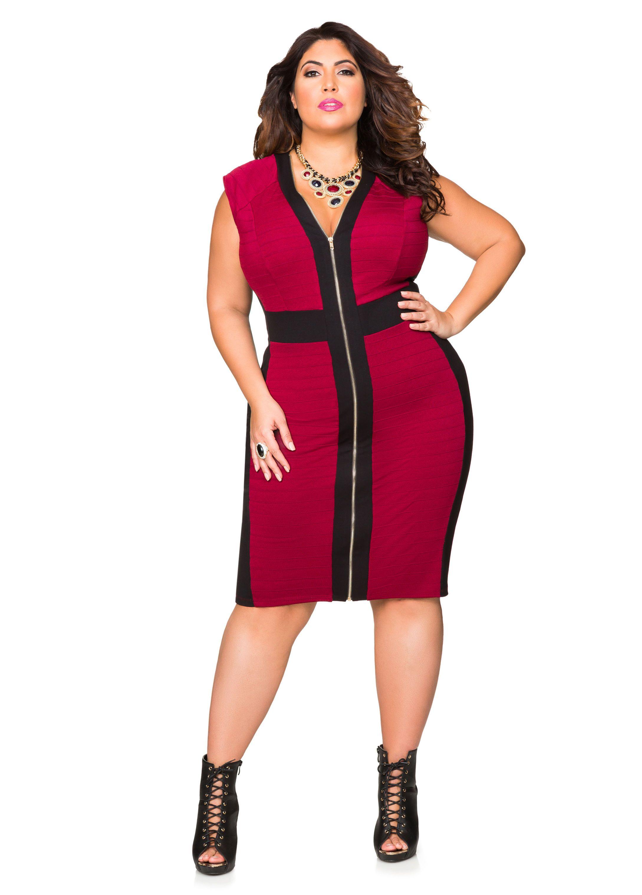 Front Zip Ribbed Knit Bodycon Dress Ashley Stewart Rib Knit And