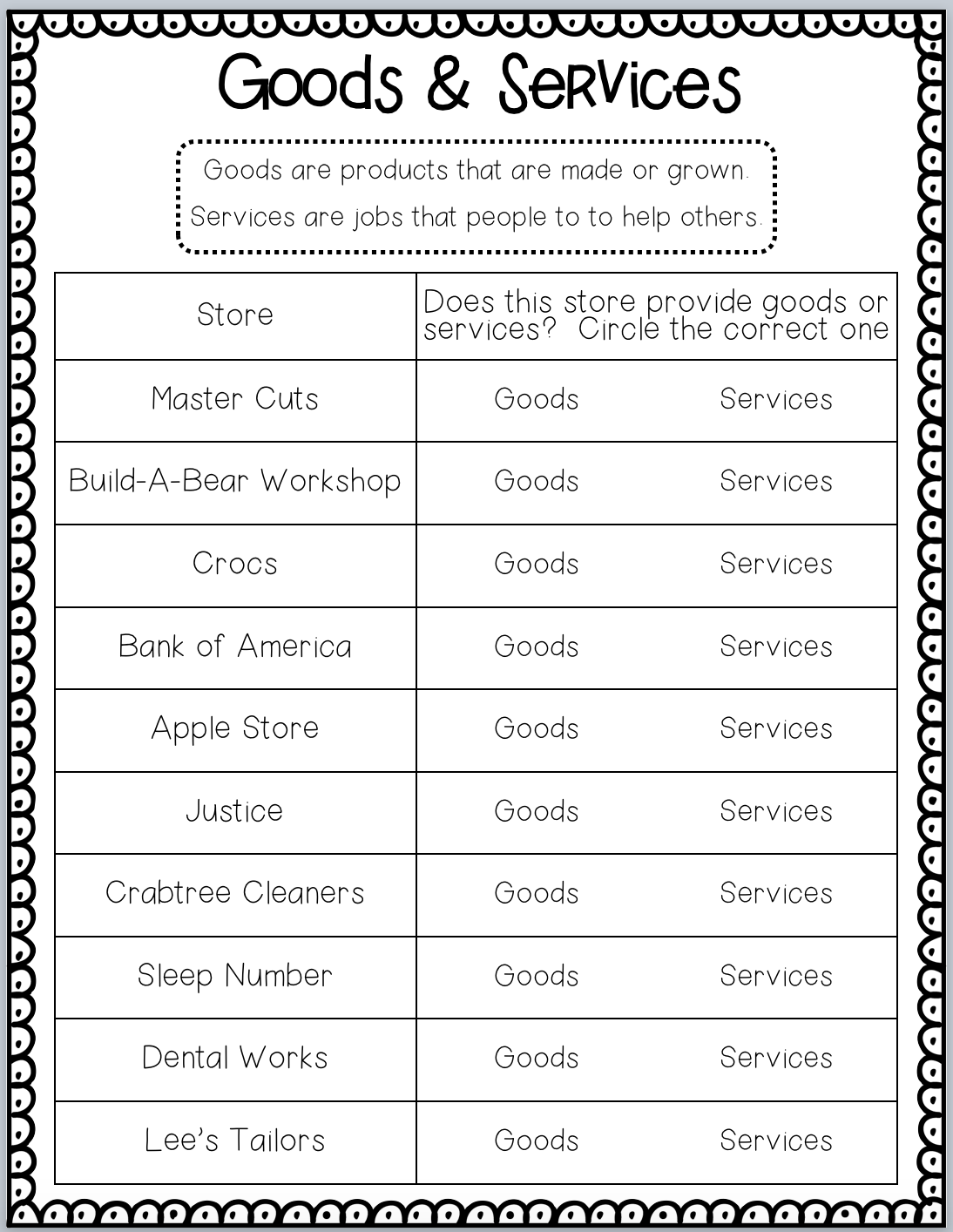 Goods And Services Worksheet 2nd Grade