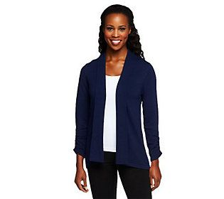 Susan Graver Open Front Cardigan Sweater with Ruched Sleeves