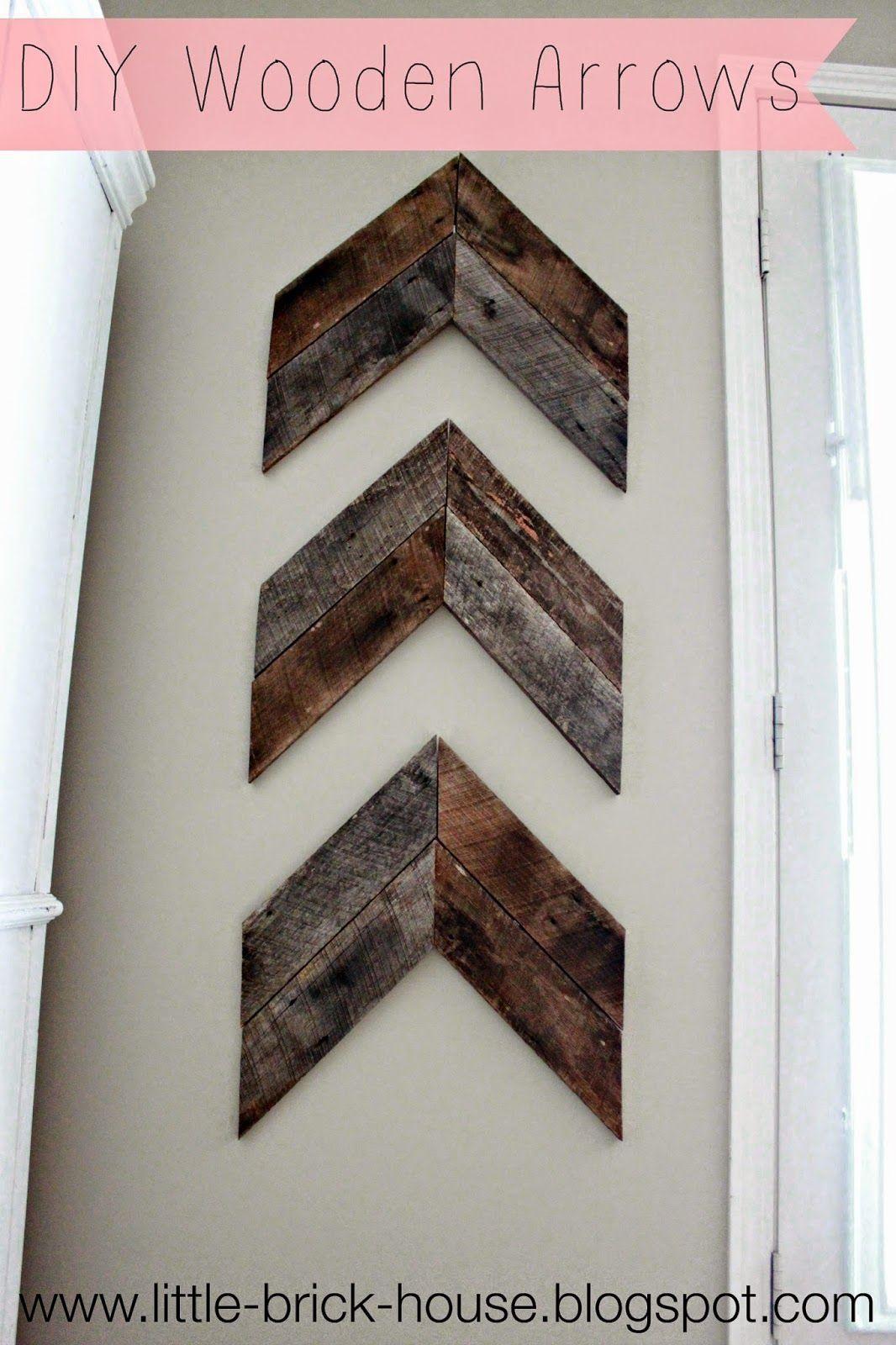 Little brick house reclaimed wood project diy wooden arrows