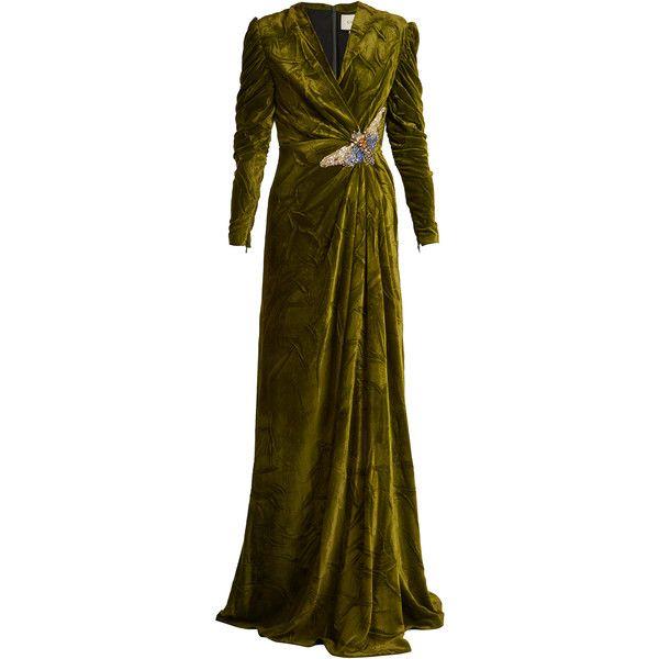 Gucci V Neck Embellished Velvet Gown 6800 Liked On Polyvore