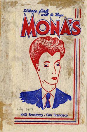 Mona S 440 Club Where Girls Will Be Boys Napkin Circa 1947 San