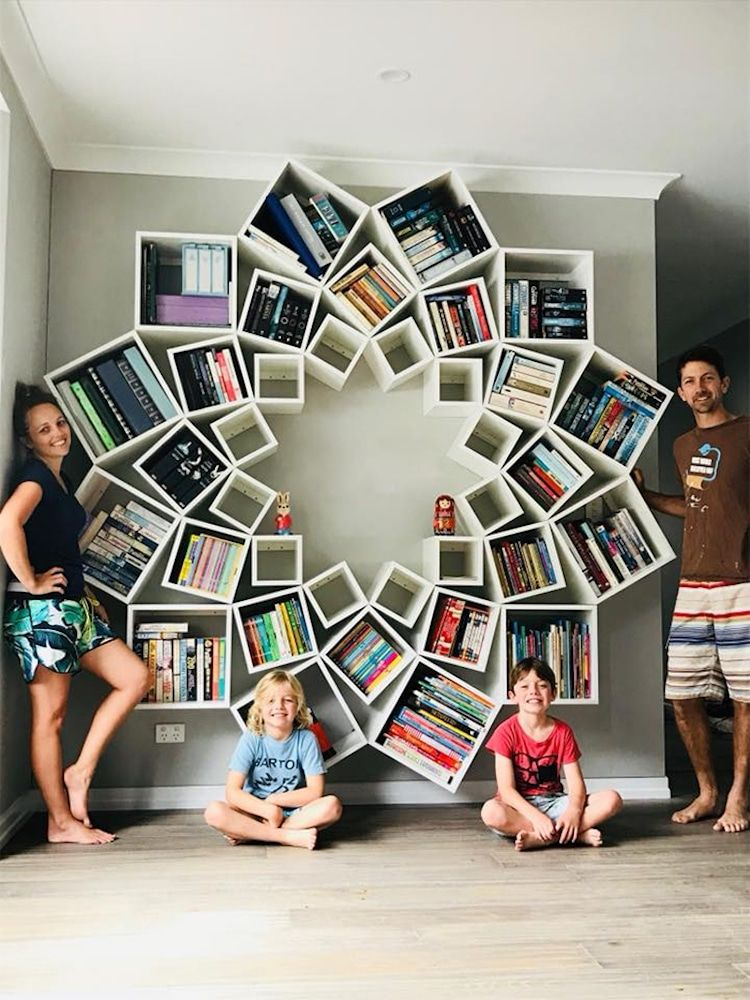 Couple builds diy bookshelf together and its a pinterest