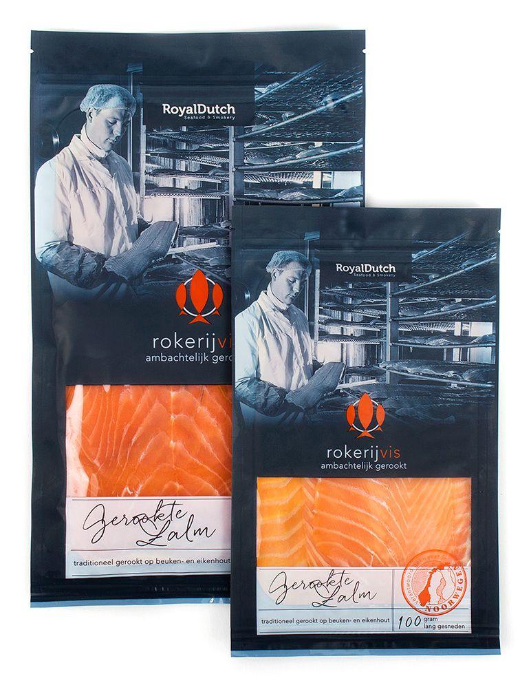 Rokerijvis - BooM creatives | branding & design. #RoyalDutch #RDS #rokerijvis #heerlijk #Nederlands #trots #zalm #Duurzaam #pouch #visverpakking