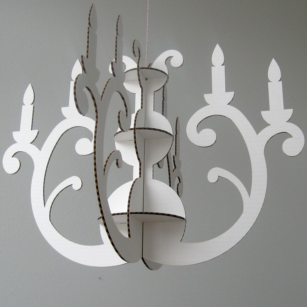 White Cardboard Chandelier Laser Cut Decoration 24 00 Via