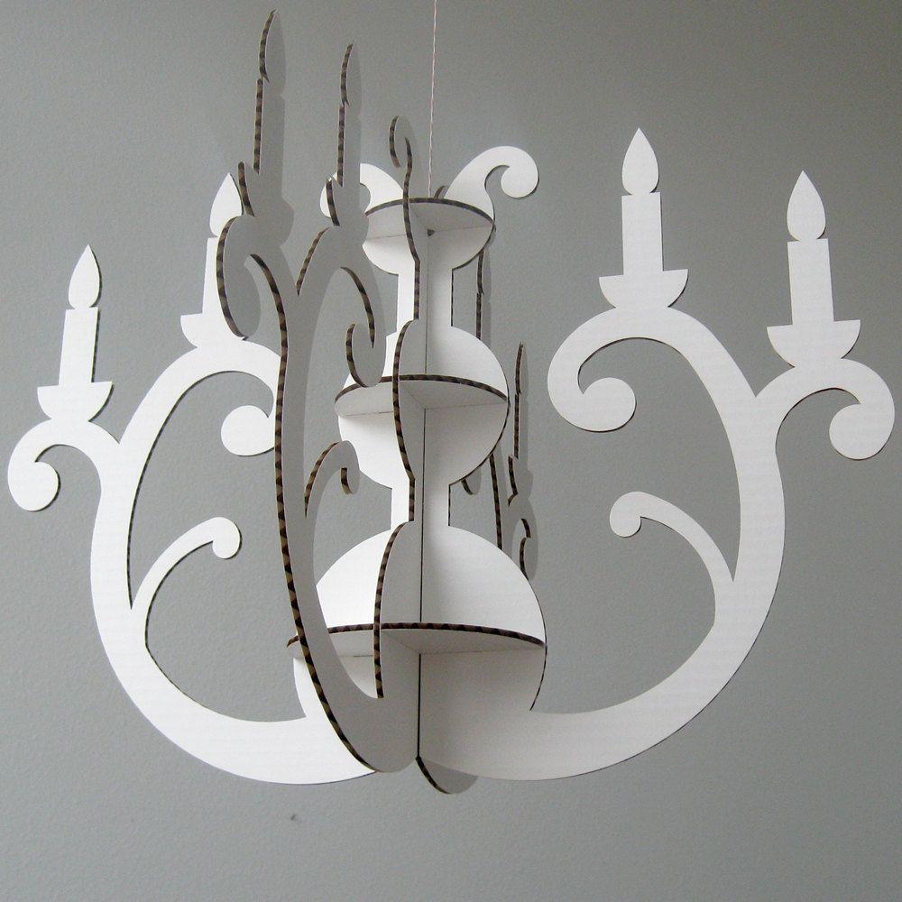 White Cardboard Chandelier Laser Cut Decoration 24 00 Via