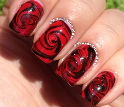Water marble that looks like a rose nail designs nail tutorials nail art how to nail designs nail tutorials water marble red rose nails prinsesfo Choice Image