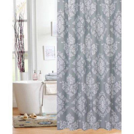 Mainstays Classic Noir Shower Curtain White