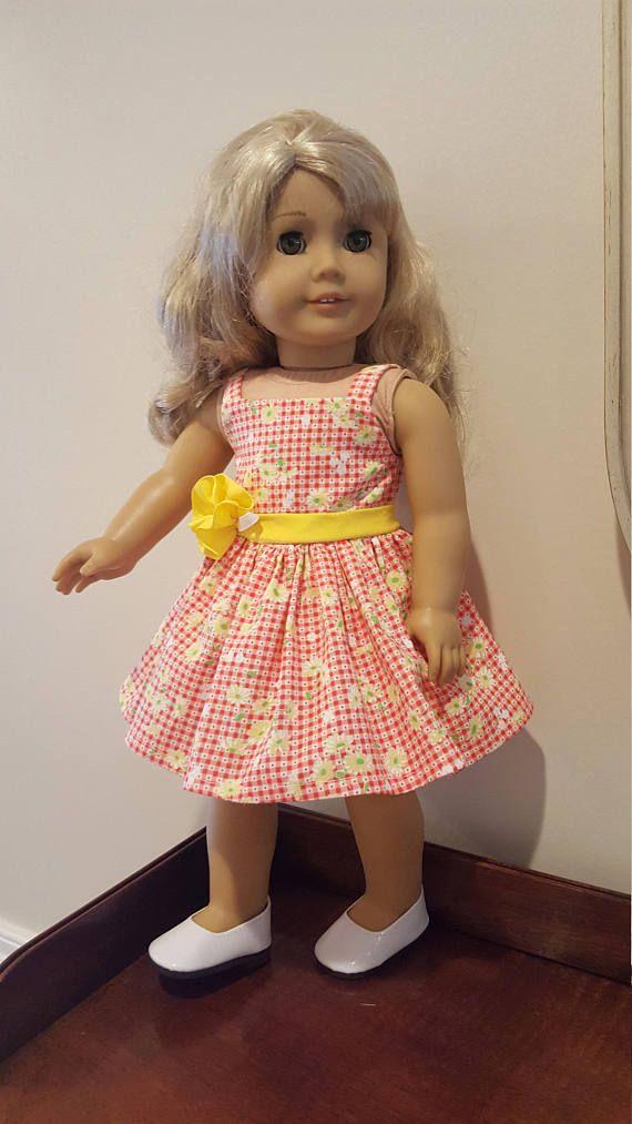 7e55c8cf234dd 18 inch Doll Dress, Fits American Girl, Orange & Yellow Sun Dress ...