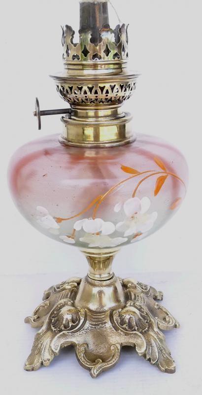 Superbe Petite Lampe A Petrole Ancienne Toupie Emaillee Fleurs Xixe