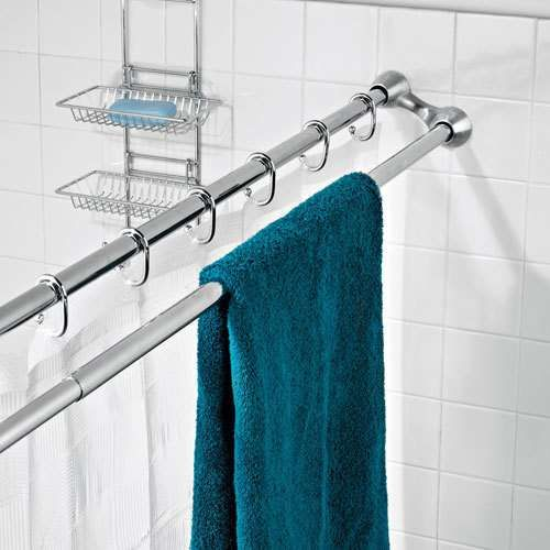 Double shower curtain rod to hang wet towels. Great ideas for ...