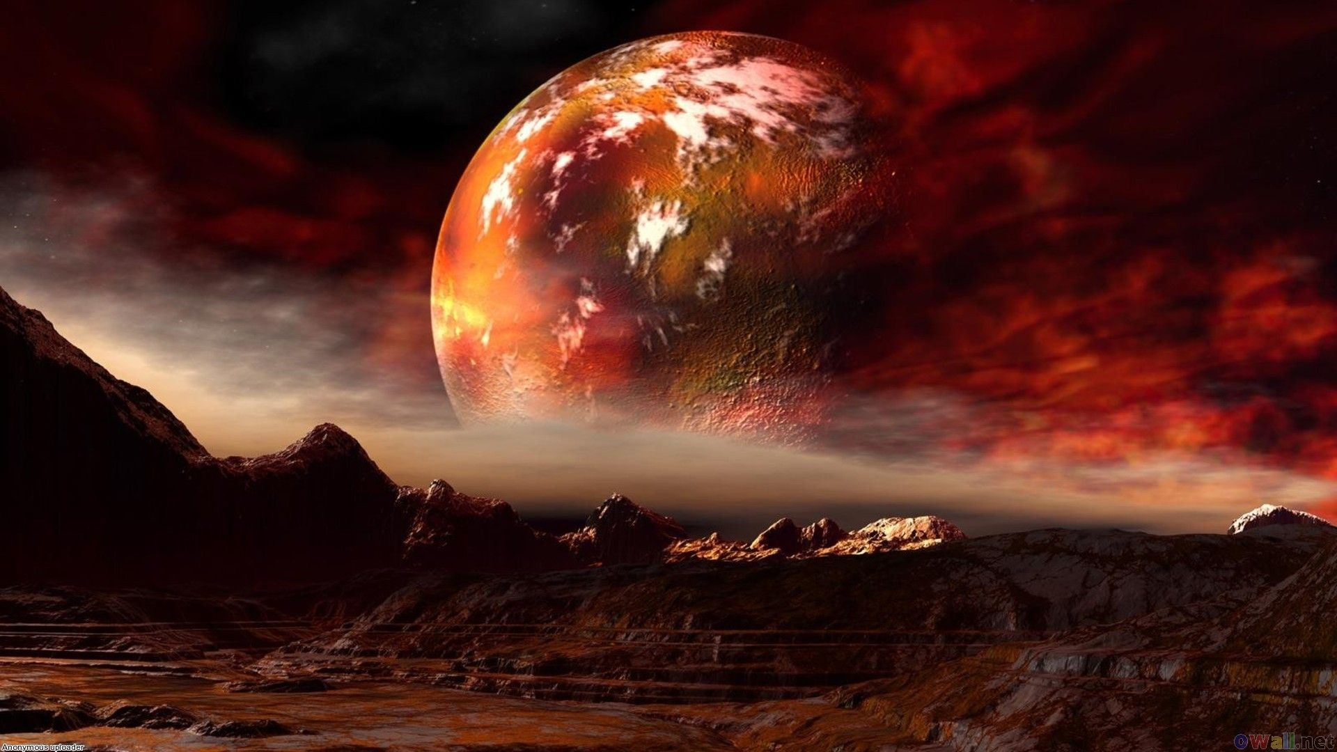 A Red Planet Hangs Low In The Sky Mars Wallpaper Planets Wallpaper Clouds