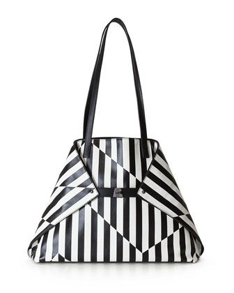 Ai+Medium+Striped+Convertible+Tote+Bag,+Black/White+by+Akris+at+Neiman+Marcus.