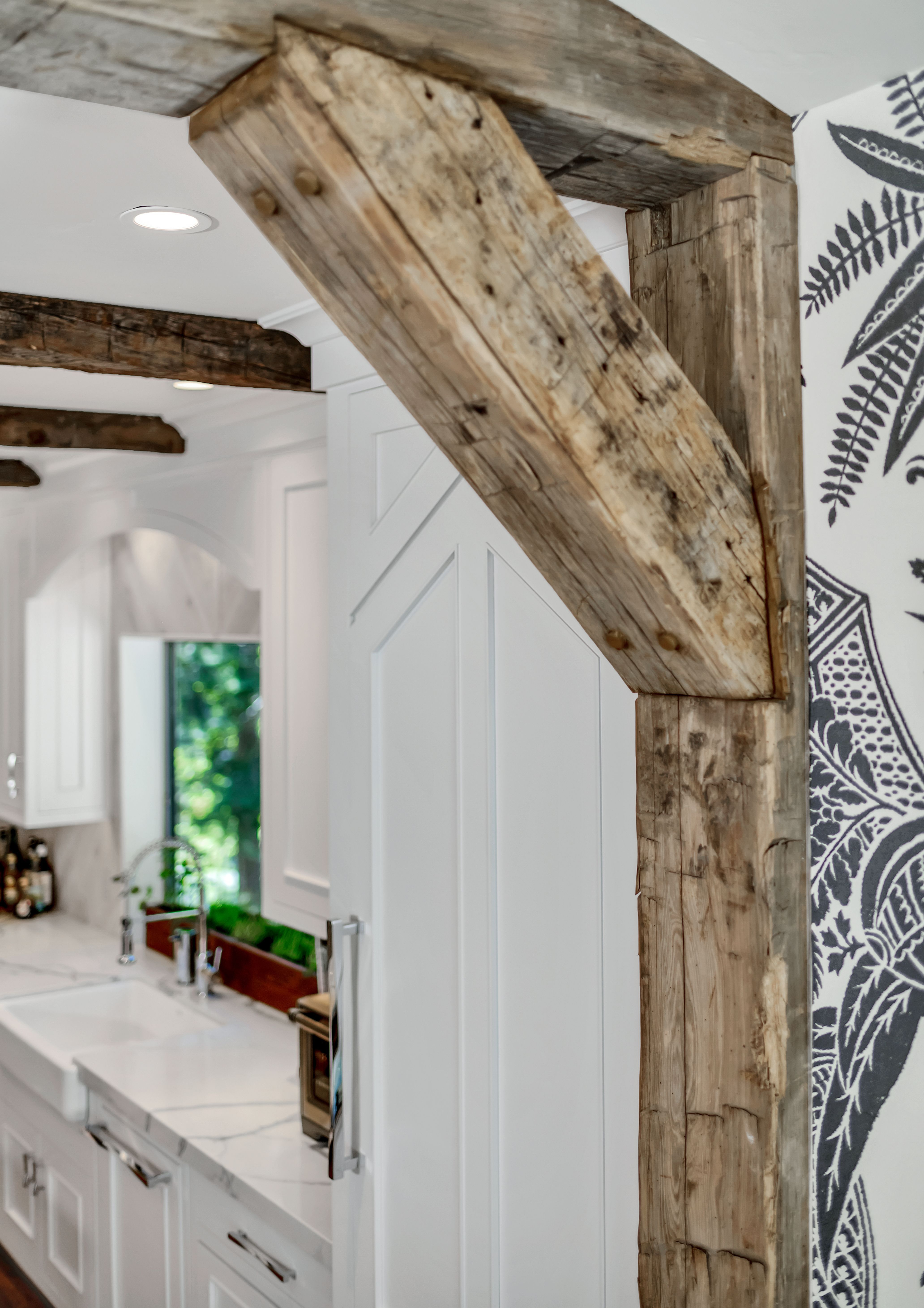 The Back Road In 2021 Wood Beam Ceiling Reclaimed Wood Ceiling Tropical Kitchen