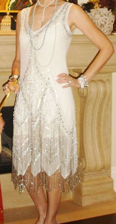 Stunning Great Gatsby Dress 1920 Style Fler Sequins And Beads Size Small Ebay