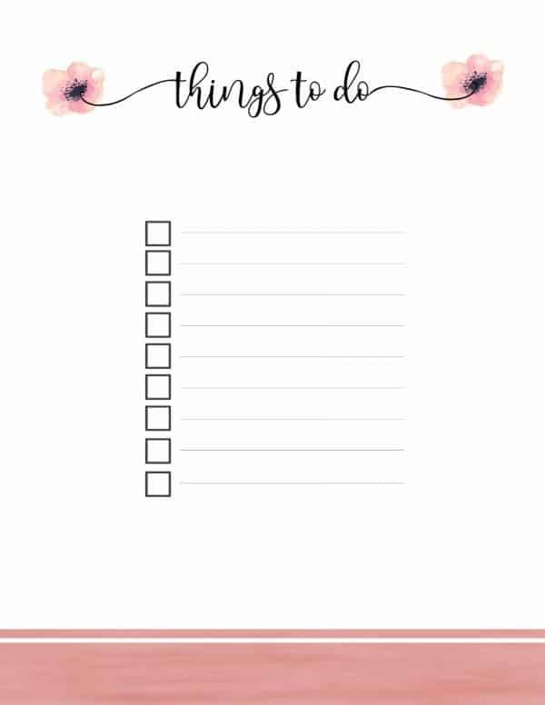 Free Printable Watercolor To Do List Beautiful 9