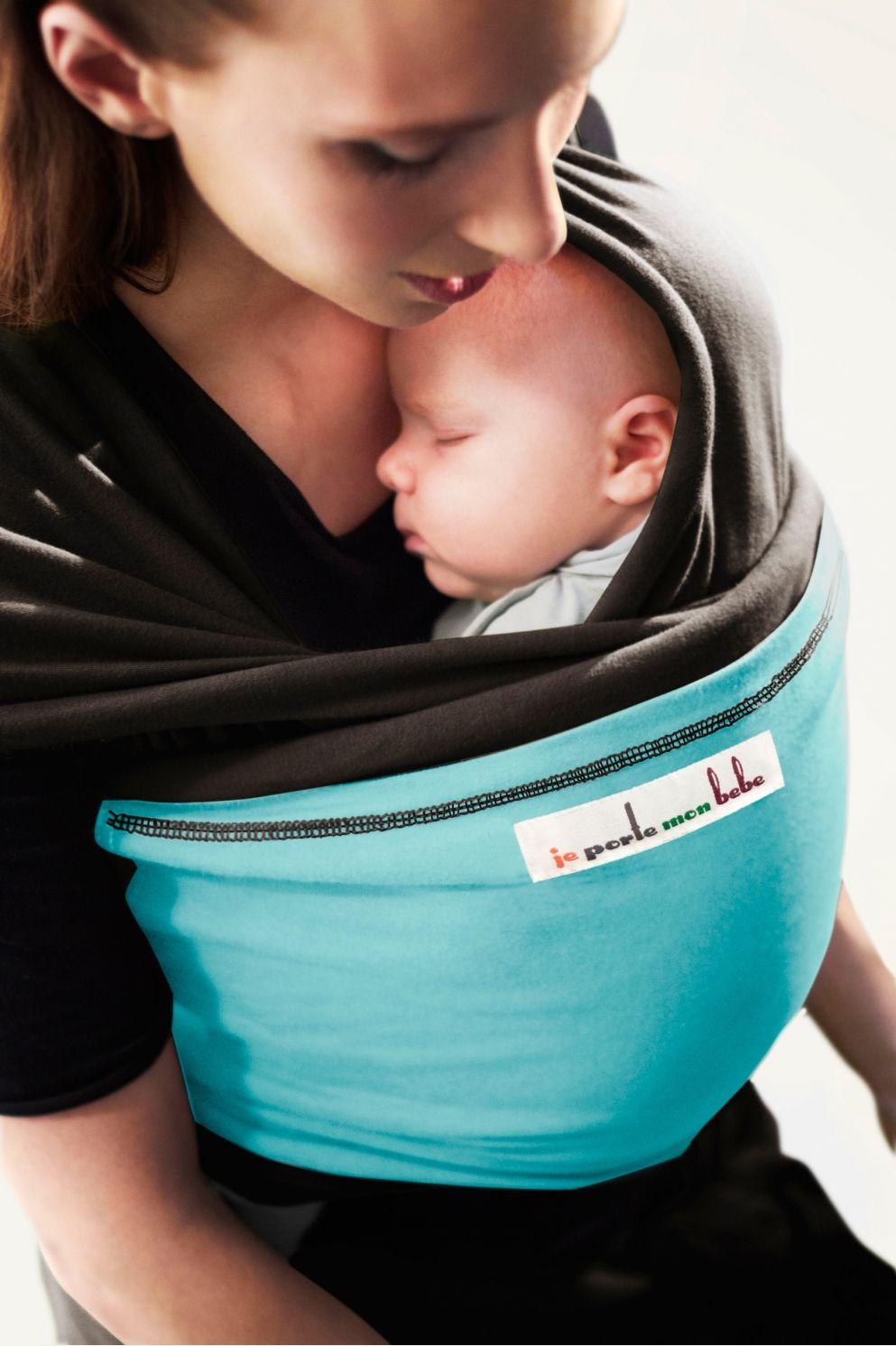 Echarpe de portage CAFE NOIR, poche Turquoise   JPMBB ®   Echarpe porte bébé b0531114a02