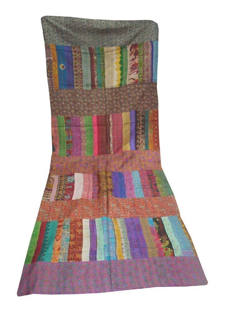 Kantha Quilt Blanket Bedspread Throw Indian Ethnic Queen Patola ... : ethnic quilt - Adamdwight.com