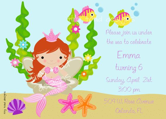 Mermaid Under the Sea Birthday Party Invitation by TinyToadDesigns