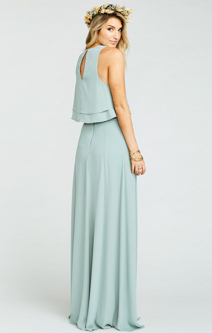 King Bridesmaids Crop Top ~ Silver Sage Crisp | Mini skirts, Wedding ...
