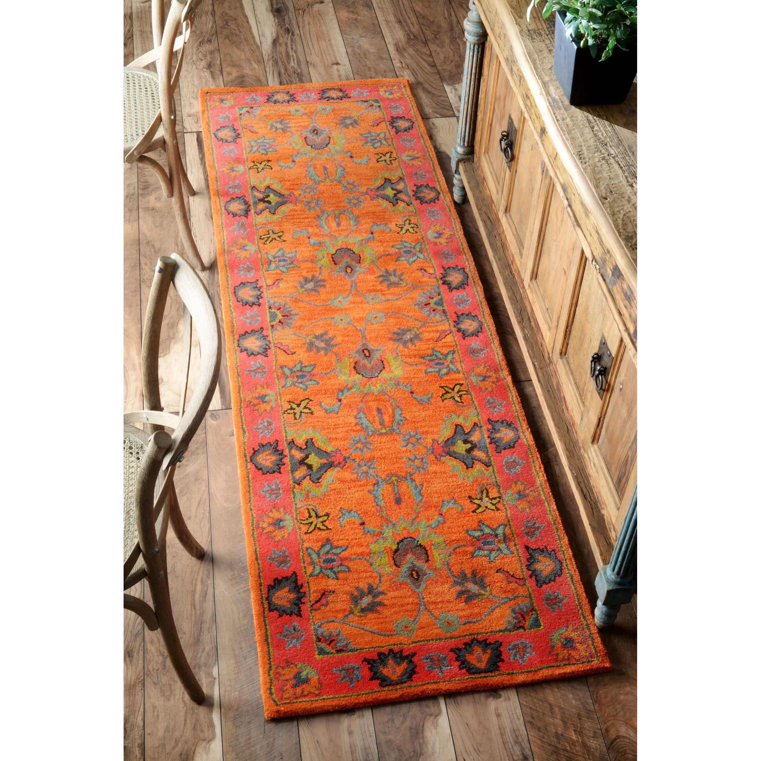 Nuloom Handmade Overdyed Traditional Orange Wool Runner Rug X Ping Great Deals On Rugs