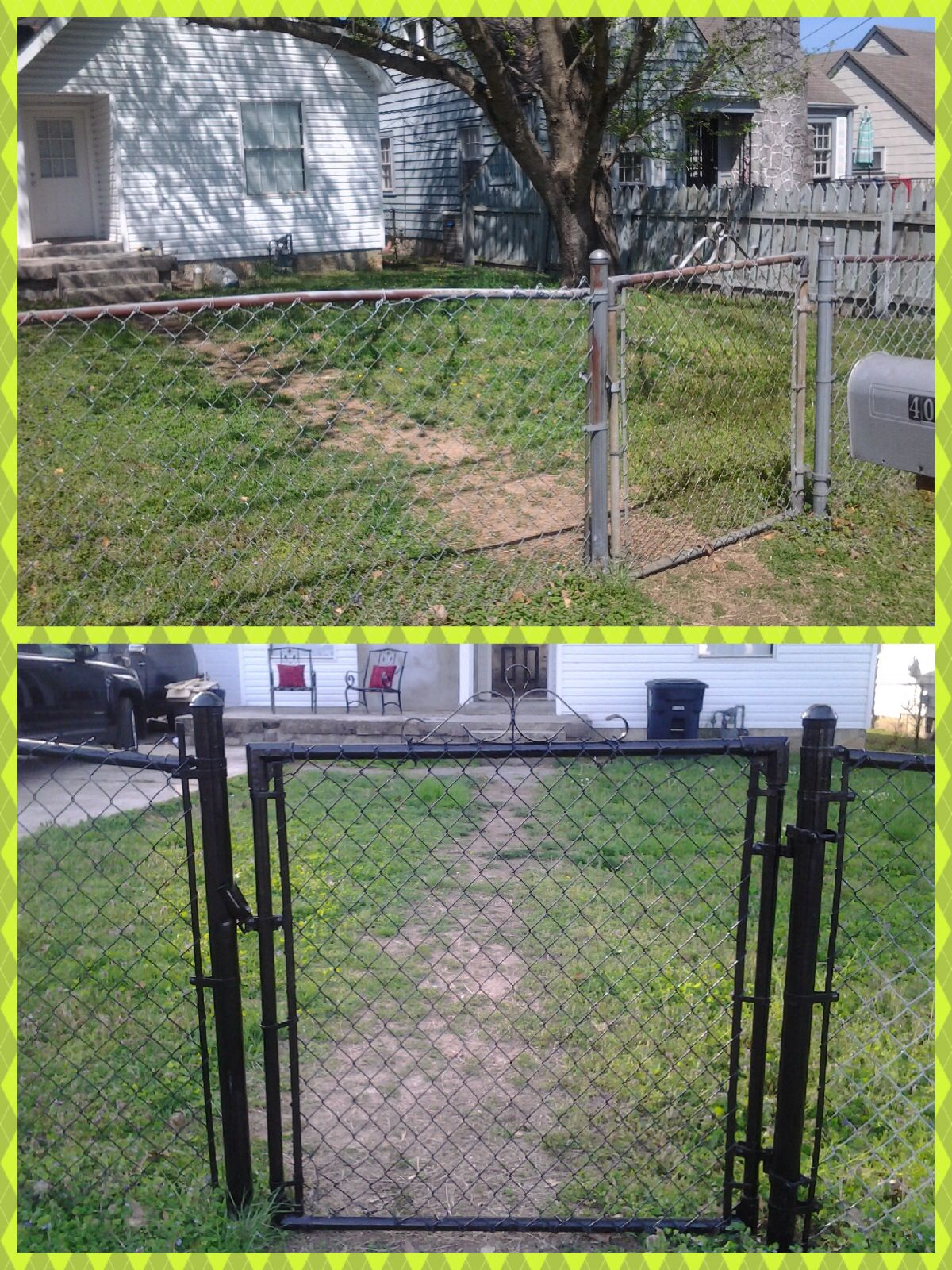 Painted A Chain Link Fence With Rustoleum Oil Based Black Gloss Enamel Painted Chain Link Fence Backyard Fences Fence Design