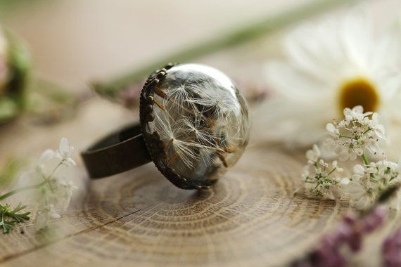 Small dandelion ring , dandelion seed jewelry , good luck ring , dandelion wish , mini terrarium jewellery , botanical jewelry , make a wish