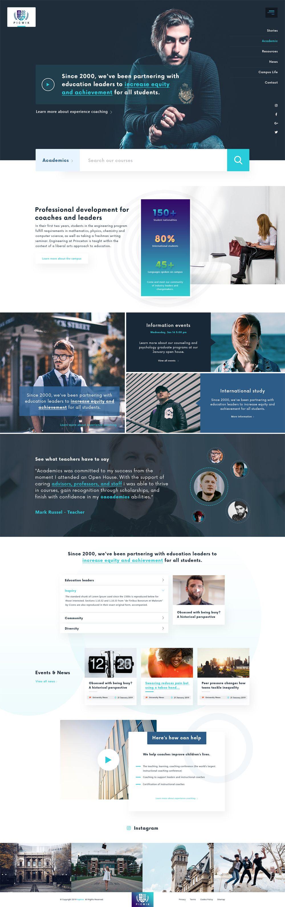 University Education Landing Page Psd Template Web Layout Design Web Design Landing Page