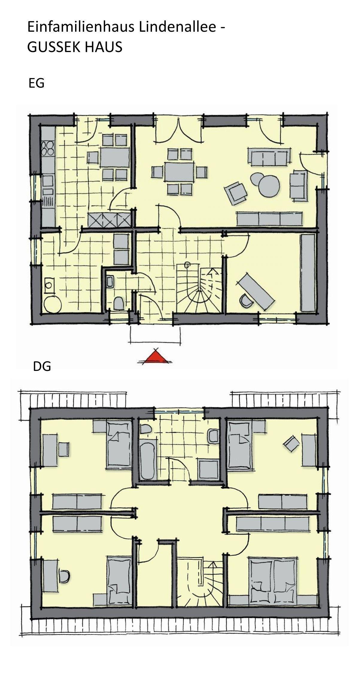 Einfamilienhaus Grundriss rechteckig mit Satteldach