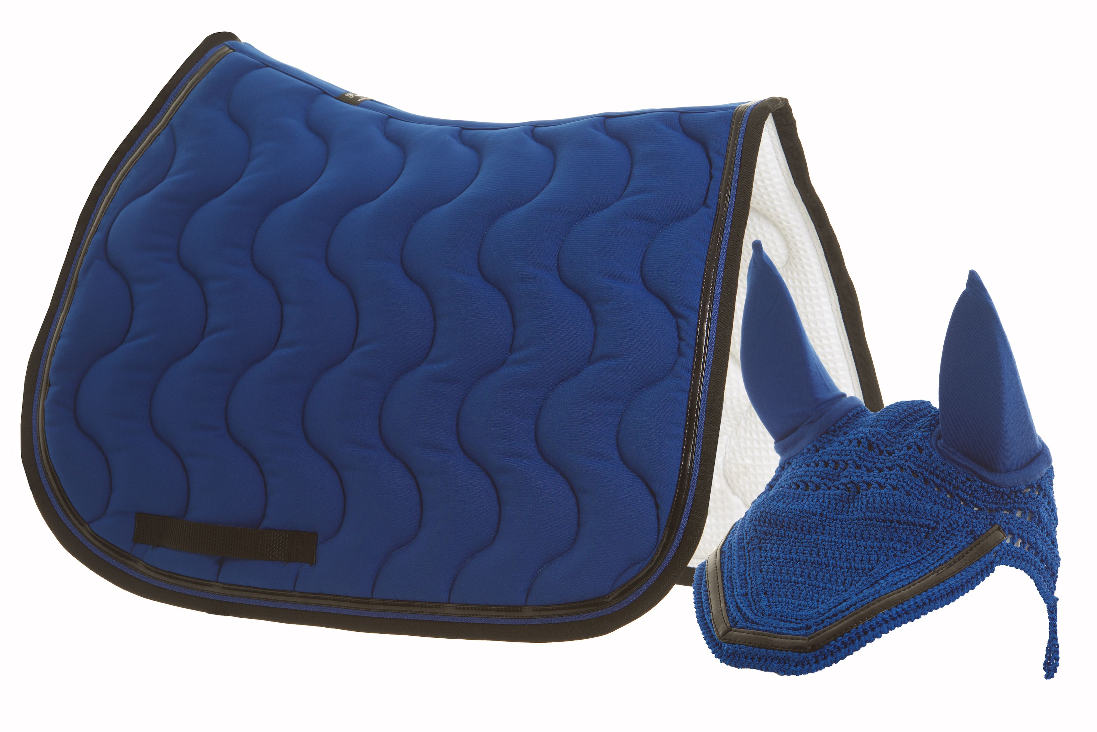 The Paddock Sports UK Classic Saddle Pad in royal blue with black patent binding together with a smart matching fly veil....