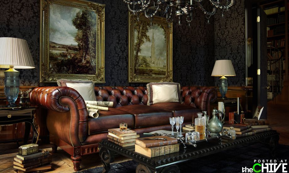 sumptuous design ideas english style sofa. The Chesterfield sofa with its leather  buttons and quilting is a Victorian classic dark polished wooden furniture William Morris wallpaper also add Amazing house interiors 27 HQ Photos morris