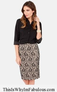 This Is Why I'm Fabulous   Pretty Pretty Pencil Beige and Black Lace Pencil Skirt - http://www.thisiswhyimfabulous.com/skirts/pretty-pretty-pencil-beige-and-black-lace-pencil-skirt