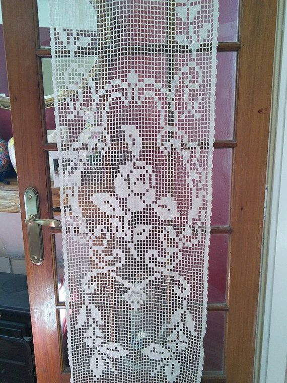 French Vintage Filet Crochet Cream Curtain By Fromparistoprovence
