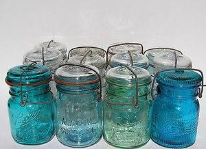 a4c98d3baf27 12 Different 1908 Patent Glass Top Pint Mason Jars Antique Canning ...