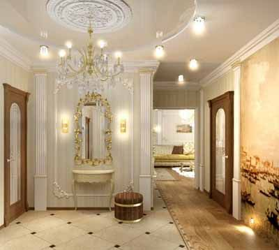foyer ideas include white wall paint large chandelier mirror floor tiles and ottoman