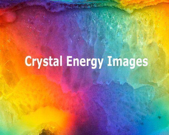 Quartz Crystal Geode Rainbow Art, Reiki Energy Healing